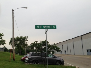 Street outside the stadium, honoring Cedar Rapids native Kurt Warner