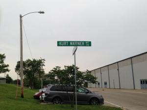 Street outside the stadium, honoring Cedar Rapids native Kurt Warner