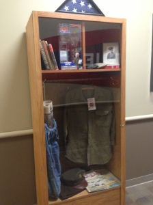 Lots of Military memorabilia which is to be expected in Veterans Memorial Stadium, This is a locker on suite level right next to a framed newspaper commemorating the end of WWII