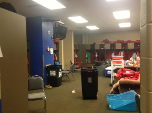 Visitors Clubhouse during batting practice