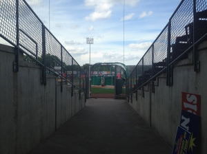 Tunnel they use to enter field with between inning contests and pre-game.