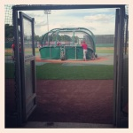 Chiefs Batting practice from the tunnel behind home