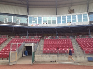 View of press box from home plate. Home booth is over the KMRY sign. Visitors booth is to the right of that as you look at this photo