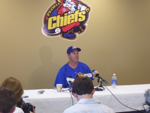 Maddux at his jersey retirement ceremony on June 11, 2010 in Peoria.