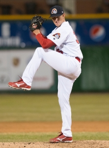 Zack Petrick pitching for the Chiefs in April 2013