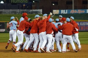 The Chiefs celebrate with Thomas Spitz after his walk off single Sunday (Dennis Sievers Photography)